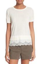 NEW $265 Theory 'Lilany' Lace Hem Merino Wool Top Ivory  [SZ Medium] #1011