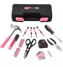 Pink Household Girl Ladies Hand Tool Set Kit Box Hard Storage Case UK Stock Gift