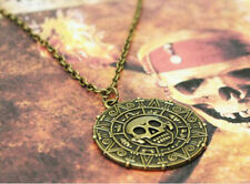 Hot Cool Pirates of the Caribbean Aztec Gold Coin Medallion Necklace Pendant
