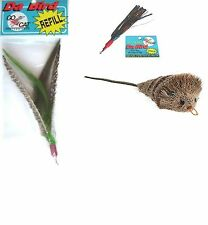 3 Refills For Da Bird & Cat Catcher: Guinea Feather Sparker Mouse Attachments