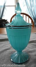 VINTAGE HEISEY BLUE WITH BLACK TRIM #465 RECESSED PANEL COVERED 1/4 LB CANDY JAR
