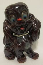 Vintage 1940's Poodle Dog Puppy Figurine Brown Ceramic Ries Hand Decorated Japan