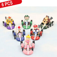 Lot 6 piezas Super Mario Bros Mini Mini Kart Retirada Figura Coleccionable