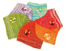 #133 Beanie 50% Alpaca Hand Knit Crochet Flower Peru Artisan 6 Pack Wholesale