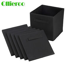 Ollieroo 6 Pcs Home Fabric Cube Bin Container Storage Box Organizer Black