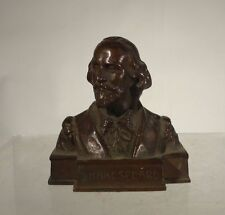 Antique German Austrian Bronze Bust Shakespeare Signed Muller