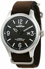 New TIMEX T49935  Expedition Men's Analog Steel Watch Brown Ultra Suede Strap