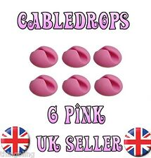 6 Pink Cable Drops Clips Stop Cables - USB Charger Cables Management tidy