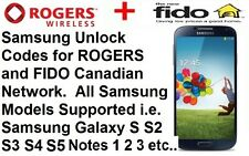 Unlock Code Rogers Fido All Samsung Model Galaxy S2 S3 S4 S5 S6 S7 Note 2 3 4 5