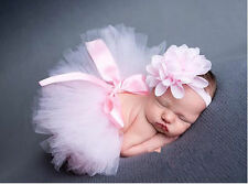 Cute Newborn Baby Girls Headdress Flower +Tutu Clothes Skirt Photo Prop Outfits