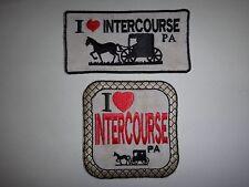 Set Of 2 Souvenir Patches: I LOVE INTERCOURSE, PENNSYLVANIA *Great Gift Idea*