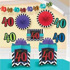 40th Celebration Happy Birthday Party Black Garland And Room Decorating Kit 10pc
