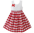 Sunny Fashion Girld Dress Red Tartan Sundress Kids Clothing Size 4 5 6 7 8 9 10