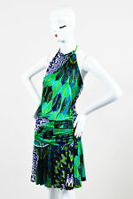 M Missoni Blue Green & White Printed Flounce Hem Halter Dress SZ 2