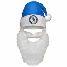 Chelsea FC Official Gift Christmas Santa Beanie Hat with Beard