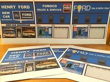 PAPERCRAFT FORD Car Dealership 1/27th scale Paper Background Scenery
