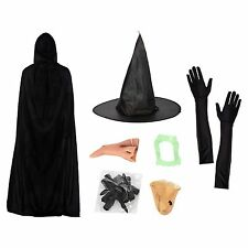 Witch Halloween Fancy Dress Set (Hat, Gloves, Nose, Teeth, Chin, Claws & Cape)