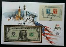 USA 100th Anniversary United States Postage Stamp 1985 FDC (banknote cover *Rare