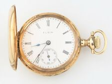Antique Elgin 14k Solid Gold 15-Jewel Pocket Watch Size 0 Double Hunter 1910