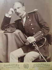 ANTIQUE NEW ORLEANS CANAL SOLDIER BUGLE KEPI SWORD ID MACK? CABINET CARD PHOTO