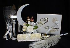 Aladdin & Jasmin Wedding Cake Topper Glasses Server Book Garter LOT Disney IVORY