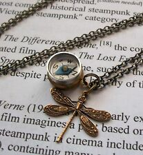 NAUTICAL Vintage working COMPASS Locket w/ DRAGONFLY Charm Pendant Necklace