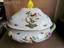 HEREND ROTHSCHILD BIRD OVAL LIDDED TUREEN / VEGETABLE DISH LEMON FINIAL (Ref468)