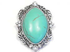 """1 - 2 HOLE SLIDER BEAD FOCAL 1 3/4"""" CONCHO FEATHERS TURQUOISE CABS & CRYSTAL"""
