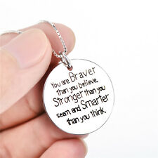925 Sterling Silver Personalized Inspirational Letters Engraved Pendant Necklace