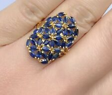 14k Solid Yellow Gold Cluster Rectangle Ring Natural Sapphire 4TCW, Sz9.0