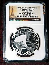 "2013 FRANCE 10 EURO 100TH TOUR DE FRANCE ""WHITE JERSEY"" SILVER COIN  NGC PF70 UC"