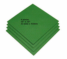 4 Genuine LEGO® pieces + 4 LEGO Compatible 10'' x 10'' Green Base plates 32 x 32