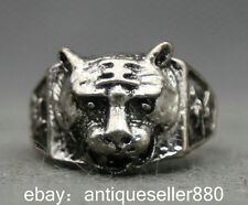 28MM China Miao Silver Folk Collection Pleasant Tiger Head Fashion Jewelry Ring
