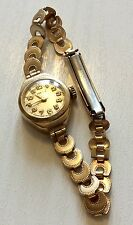 Lovely Ladies Vintage 9ct Gold Roamer Watch On Rolled Gold Strap - Works Well