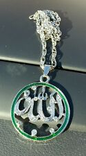 Silver Plated Islamic Muslim Allah Islam Pendant Car Rear Mirror Hanging Green