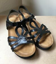 """Naot Black Leather 1.25"""" Wedge Women Sandals Size 36"""