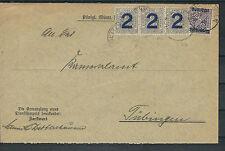 Altdeutschland Würtemberg Dienst Mi.Nr. 257 u. 263 MiF auf Brief nach Tübingen