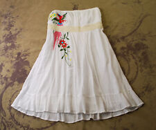 VAVA VOOM JOY HAN WHITE COTTON GAUZE BIRD EMBROIDERED STRAPLESS SUN DRESS M L