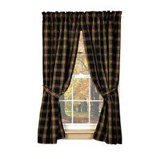 New Primitive Country Homespun Classic Tan Black Plaid Curtain Drapes Panels