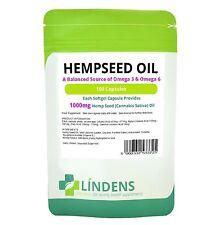 Lindens Powerful Hemp Seed Oil 1000mg 2-PACK 200 Capsules Omega 3 6 Hempseed