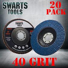 20 x  Abrasive 5'' 125MM Metal Sanding Flap Discs Angle Grinder Wheels 40 Grit