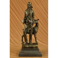 Hot Cast Western Indian Male With Wild Life Animal Bronze Sculpture West Décor