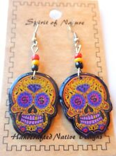 Day of the Dead earrings-Spirit of Nature-skulls $ sign eyes purple teeth yellow