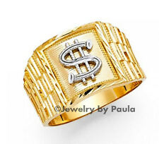 Men's 14k Solid Yellow Gold with White Gold Dollar Sign Band Ring Money Symbol