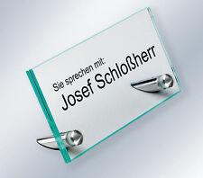 ESG-Sicherheitsglas Edelstahl Namensschild Tischaufsteller für Büro, Empfang
