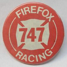 FIREFOX 747 RACING Offshore Hydroplane boat pinback button WHITE ON RED