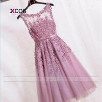 Lace Applique Long Formal Ball Gown Party Cocktail Evening Prom Bridesmaid Dress