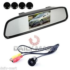 Wireless Clip On LCD Mirror Car Reverse Radar Rear View 4 Parking Sensor Camera