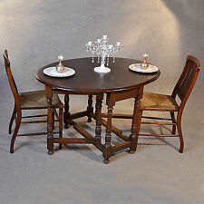 Antique Oak Oval Table Gateleg Drop Flap Victorian Country Farmhouse c1850