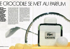 PUBLICITE ADVERTISING 094 1989  LACOSTE  parfum homme CROCODILE  ( 2 pages)